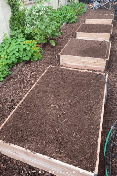 Adding premixed soil to beds